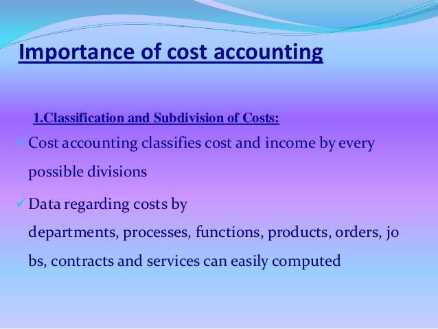 importance of cost accounting