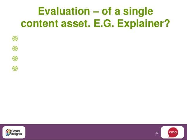 Evaluation – of a single    content asset. E.G. Explainer?                               13
