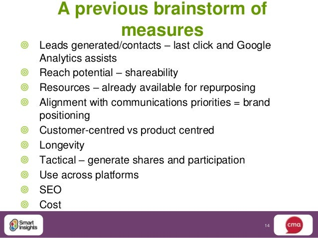 A previous brainstorm of              measures Leads generated/contacts – last click and Google  Analytics assists Reach...