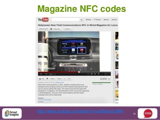 Magazine NFC codeshttp://www.youtube.com/watch?v=eDbDeohJfW4                                             20