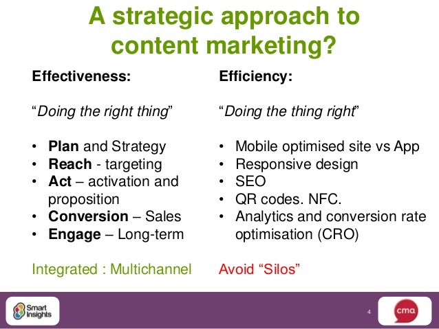 """A strategic approach to           content marketing?Effectiveness:              Efficiency:""""Doing the right thing""""     """"Do..."""