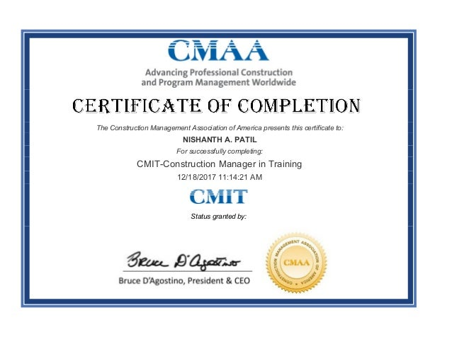 Certificate of Completion Construction Manager in Training