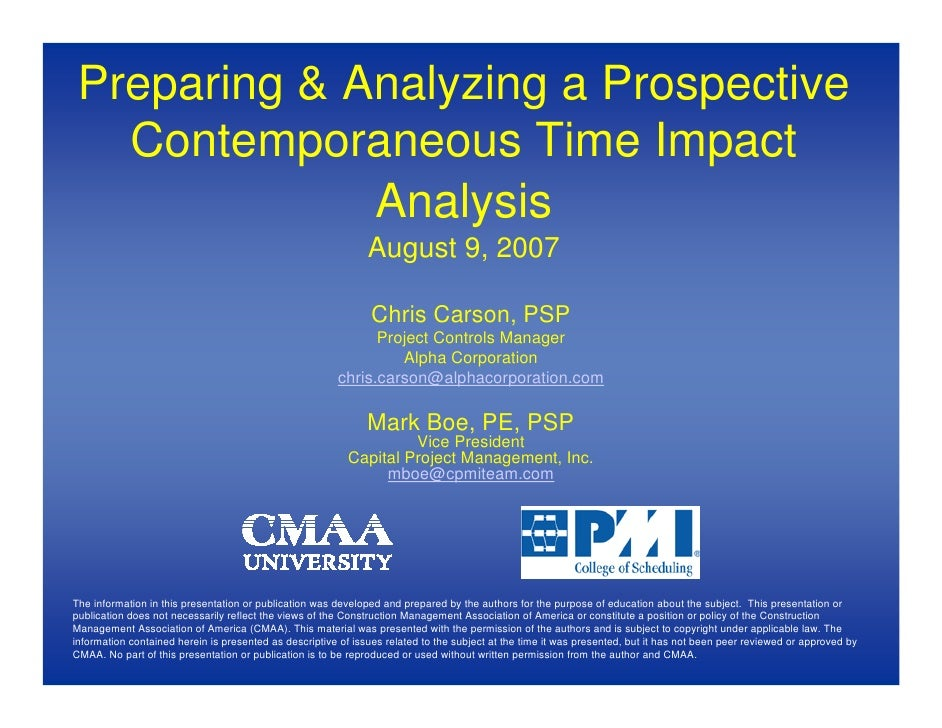 Preparing & Analyzing a Prospective    Contemporaneous Time Impact               Analysis                                 ...