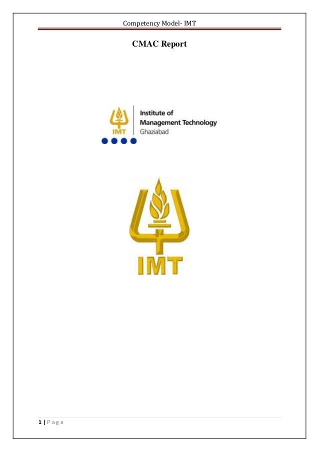 Competency Model- IMT 1 | P a g e CMAC Report