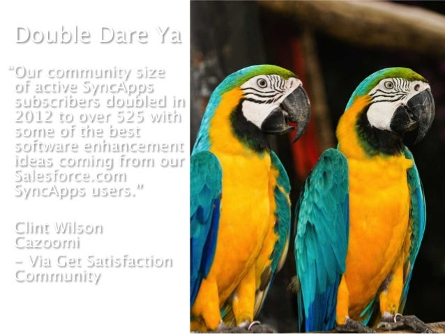 """Double Dare Ya""""Our community size of active SyncApps subscribers doubled in 2012 to over 525 with some of the best softwar..."""