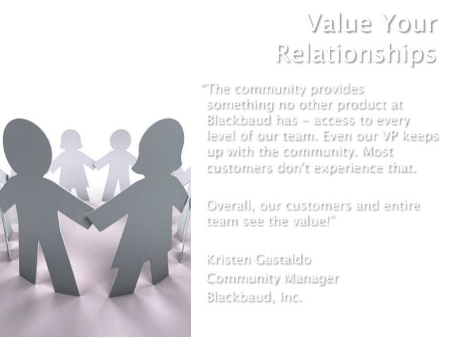 """Value Your           Relationships""""The community provides something no other product at Blackbaud has - access to every le..."""