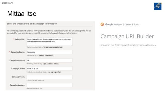 @sarkijarvi Mittaa itse https://ga-dev-tools.appspot.com/campaign-url-builder/