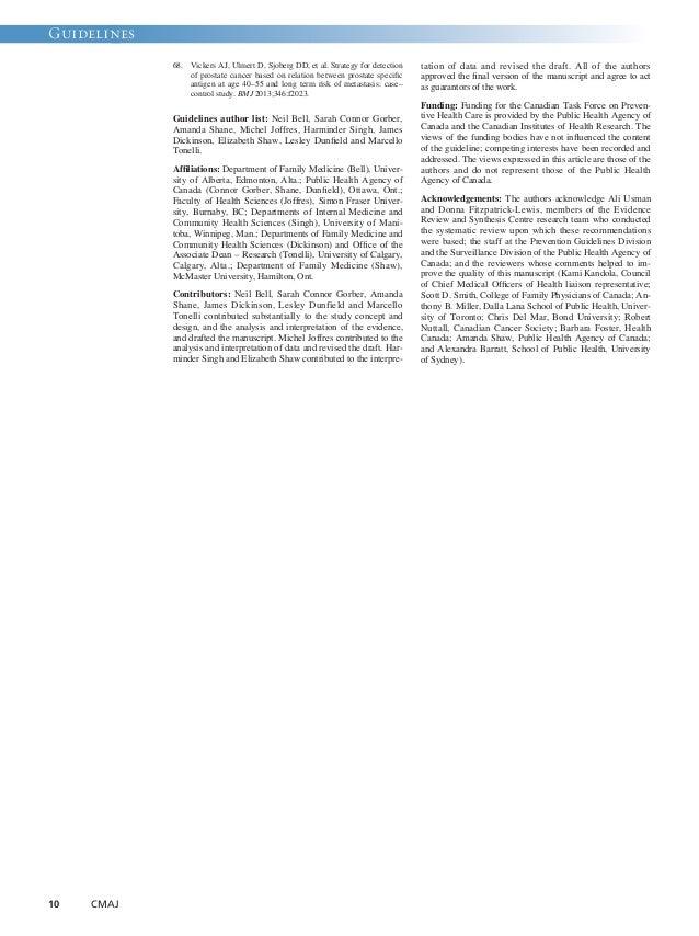 Guidelines  10 CMAJ  68. Vickers AJ, Ulmert D, Sjoberg DD, et al. Strategy for detection  of prostate cancer based on rela...