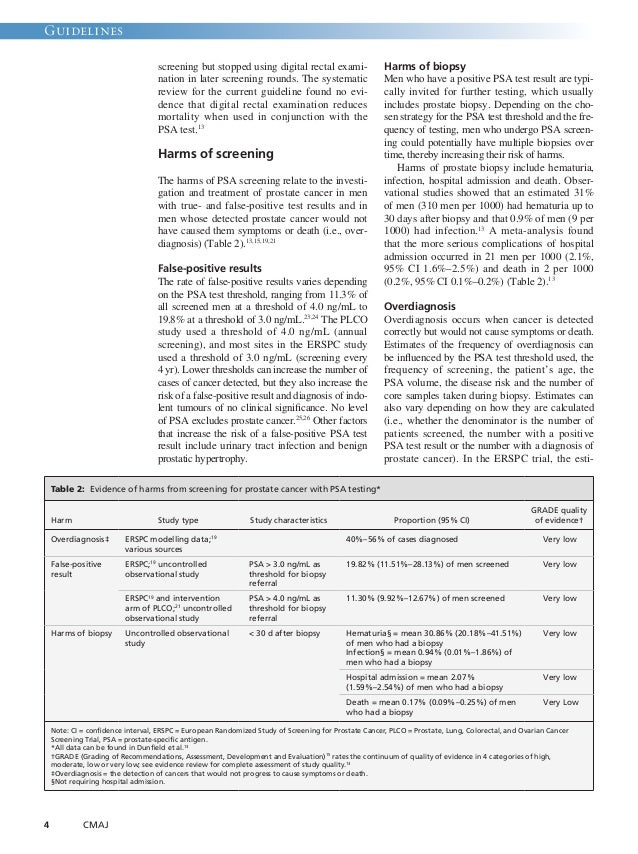 Guidelines  4 CMAJ  screening but stopped using digital rectal exami-nation  in later screening rounds. The systematic  re...
