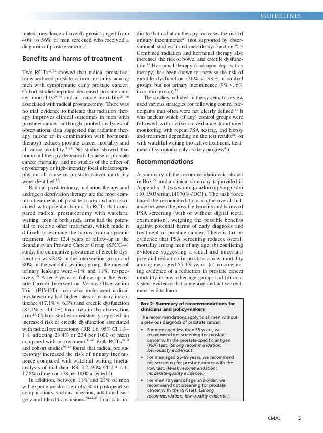 Guidelines  CMAJ 5  mated prevalence of overdiagnosis ranged from  40% to 56% of men screened who received a  diagnosis of...