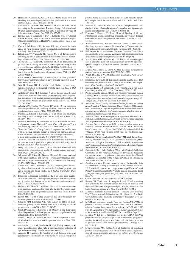Guidelines  CMAJ 9  20. Hugosson J, Carlsson S, Aus G, et al. Mortality results from the  Göteborg randomised population-b...