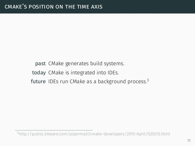cmake's position on the time axis past CMake generates build systems. today CMake is integrated into IDEs. future IDEs run...