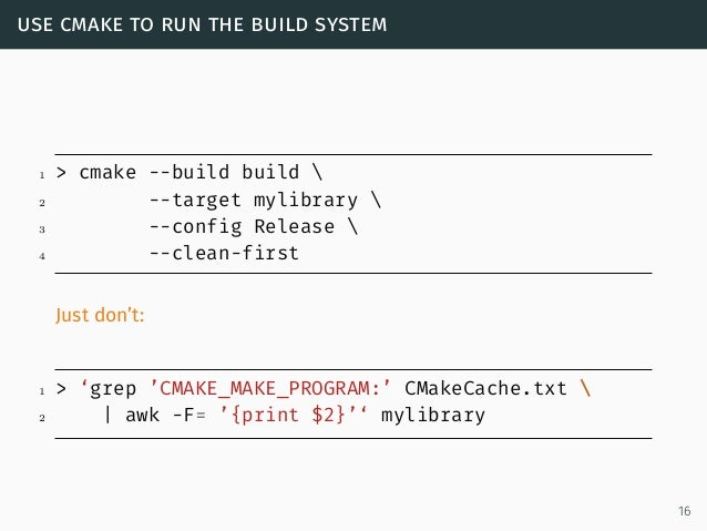use cmake to run the build system 1 > cmake --build build  2 --target mylibrary  3 --config Release  4 --clean-first Just ...