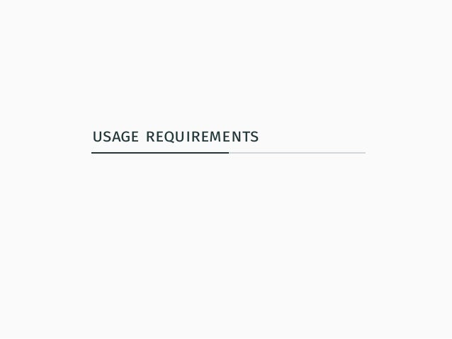 usage requirements