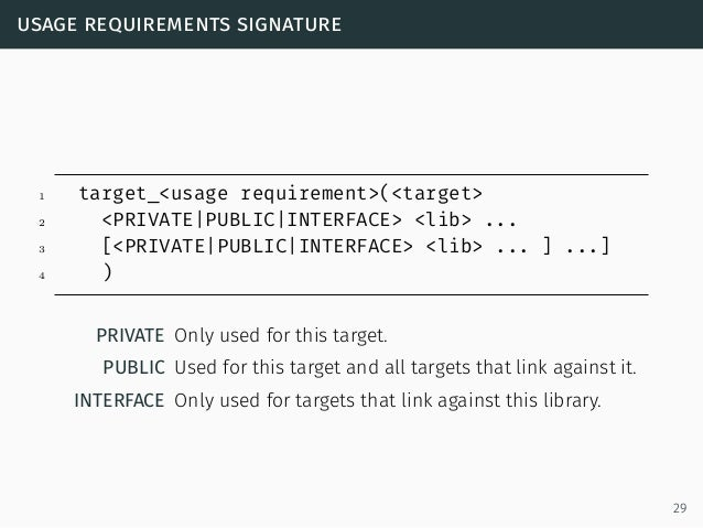 usage requirements signature 1 target_<usage requirement>(<target> 2 <PRIVATE PUBLIC INTERFACE> <lib> ... 3 [<PRIVATE PUBL...