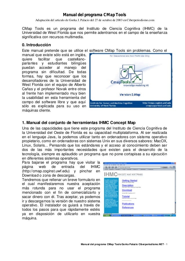 Manual del programa CMap Tools Adaptación del articulo de Gorka J. Palacio del 27 de octubre de 2003 en Ciberperiodismo.co...