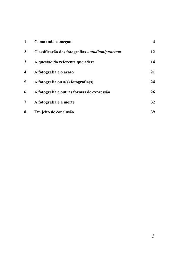 1   Como tudo começou                                  42   Classificação das fotografias – studium/punctum   123   A ques...