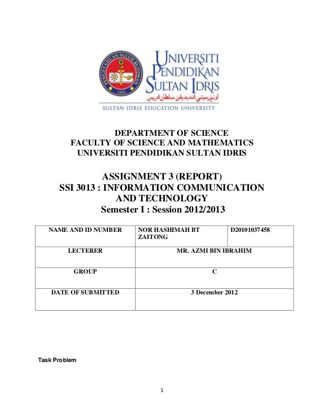 DEPARTMENT OF SCIENCE          FACULTY OF SCIENCE AND MATHEMATICS           UNIVERSITI PENDIDIKAN SULTAN IDRIS            ...