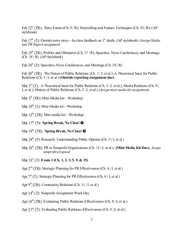 7    Feb 12th (TR): Story Forms (Ch. 9   R); Storytelling and Feature Techniques (Ch. 10   R); (AP styl...