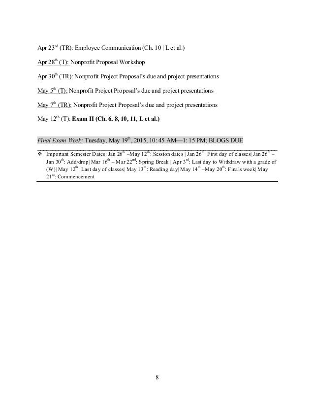 8    Apr 23rd (TR): Employee Communication (Ch. 10   L et al.) Apr 28th (T): Nonprofit Proposal Worksho...