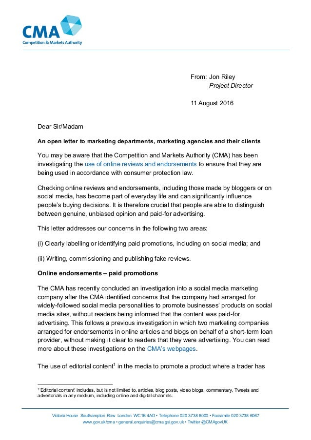 CMA UK an open letter to marketing departments marketing agencies and…
