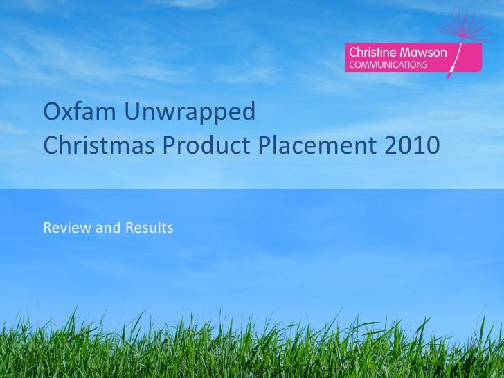 Oxfam Unwrapped Christmas Product Placement 2010 Review and Results