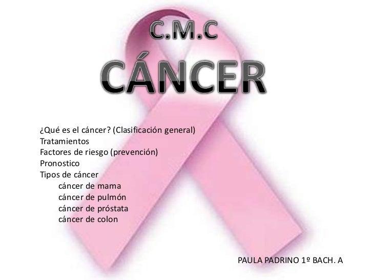 ¿Qué es el cáncer? (Clasificación general)TratamientosFactores de riesgo (prevención)PronosticoTipos de cáncer     cáncer ...