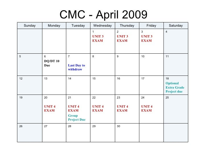 Spring 2009 Monthly Calendar Cmc His 102 202 225