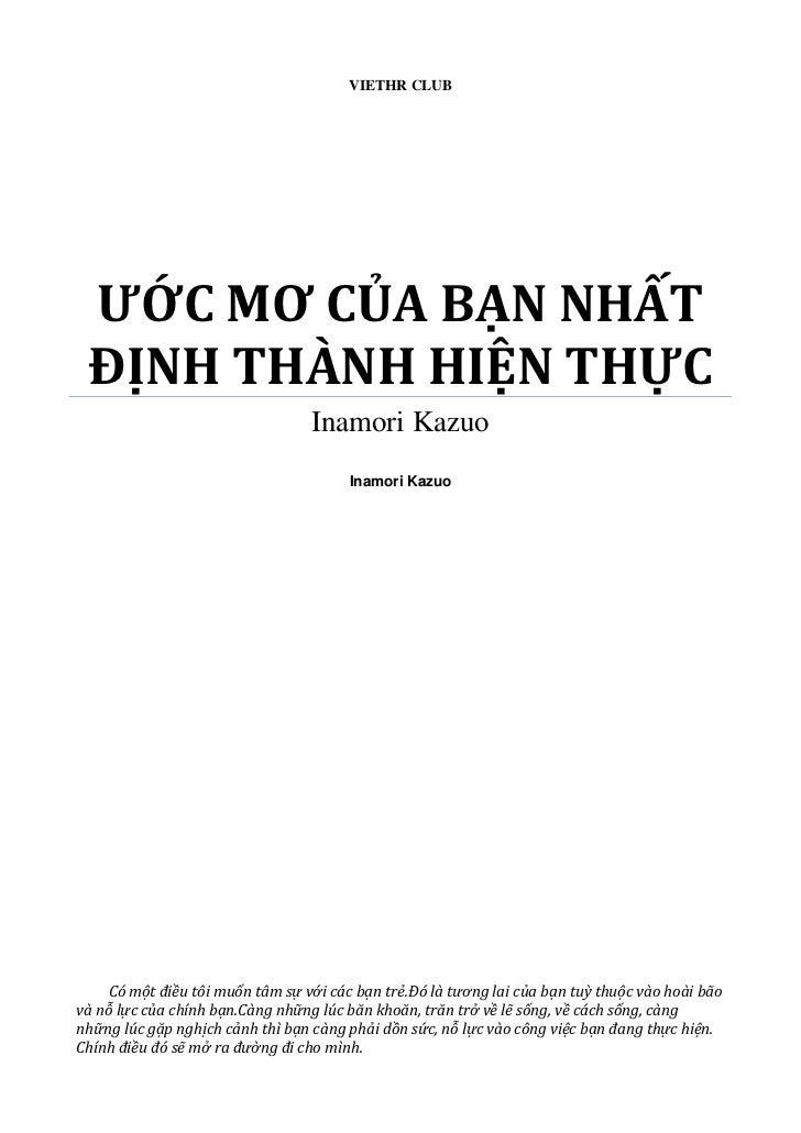 VIETHR CLUB ƯỚC MƠ CỦA BẠN NHẤT ĐỊNH THÀNH HIỆN THỰC                                  Inamori Kazuo                       ...