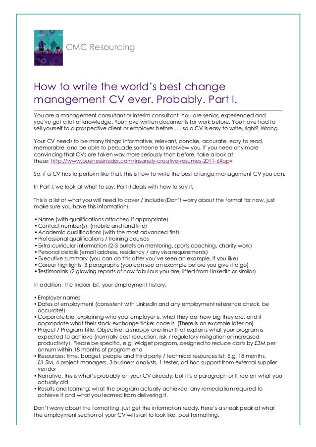how to write the world s best change management cv probably