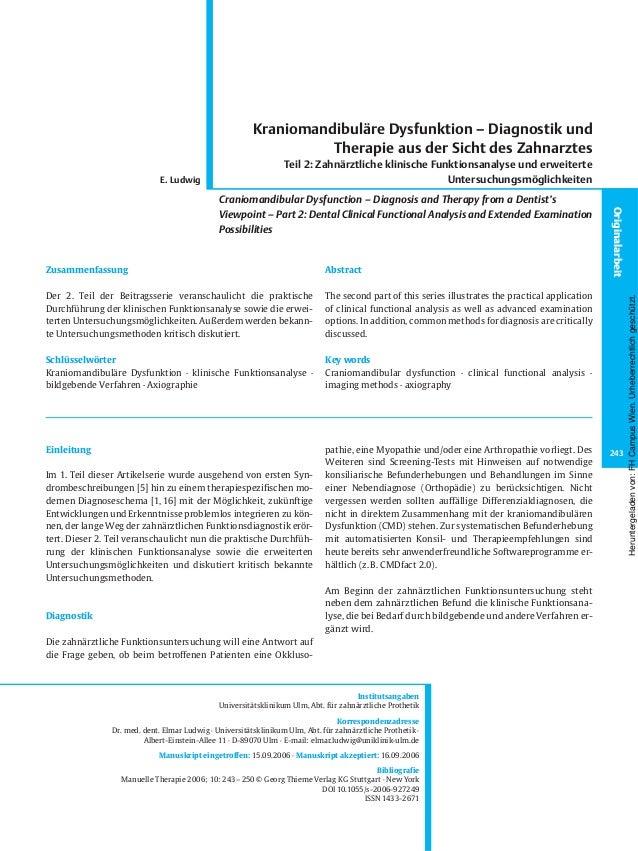 Einleitung Im 1. Teil dieser Artikelserie wurde ausgehend von ersten Syn- drombeschreibungen [5] hin zu einem therapiespez...
