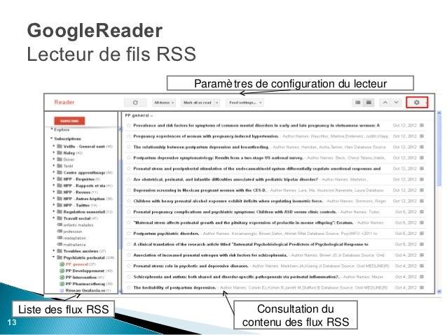 GoogleReader      Lecteur de fils RSS                          Paramè tres de configuration du lecteur     Liste des flux ...