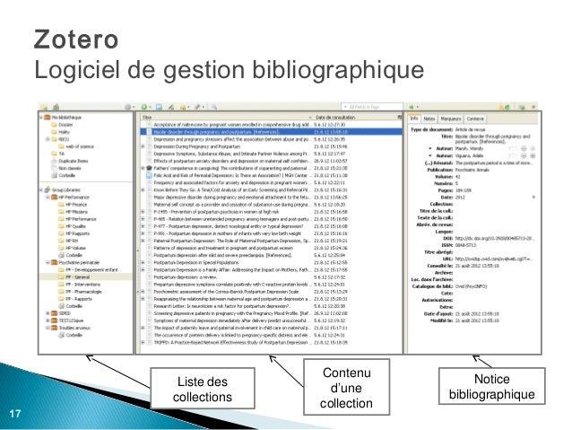 Zotero     Logiciel de gestion bibliographique                               Contenu                  Liste des           ...