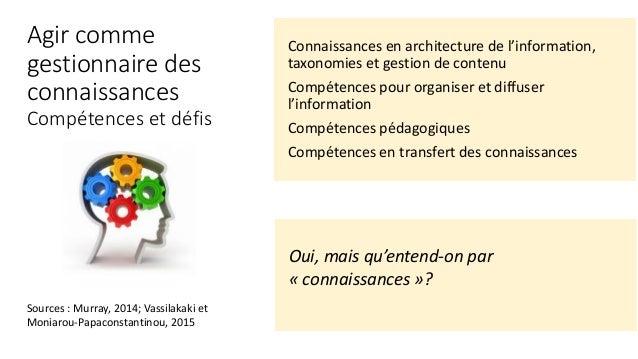 Connaissances en architecture de l'information, taxonomies et gestion de contenu Compétences pour organiser et diffuser l'...