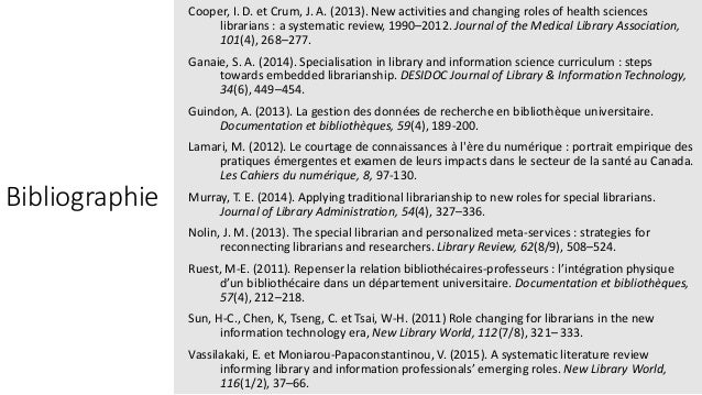 Bibliographie Cooper, I. D. et Crum, J. A. (2013). New activities and changing roles of health sciences librarians : a sys...