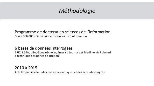 Programme de doctorat en sciences de l'information Cours SCI7000 – Séminaire en sciences de l'information 6 bases de donné...