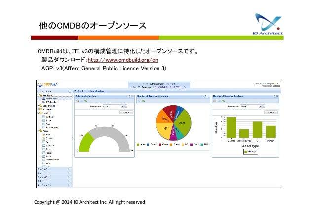 他のCMDBのオープンソース  CMDBuildは、ITILv3の構成管理に特化したオープンソースです。   製品ダウンロード:http://www.cmdbuild.org/en   AGPLv3(Affero General Public ...