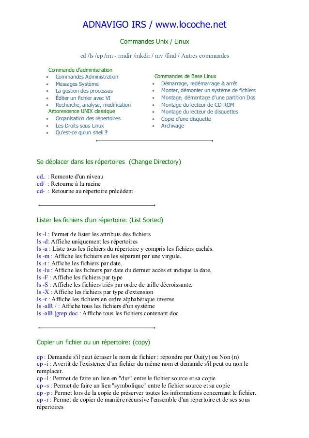 ADNAVIGO IRS / www.locoche.net Commandes Unix / Linux cd /ls /cp /rm - rmdir /mkdir / mv /find / Autres commandes Commande...