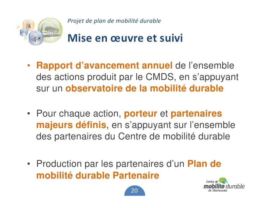 Projet de plan de mobilit durable de sherbrooke for Projet de plan