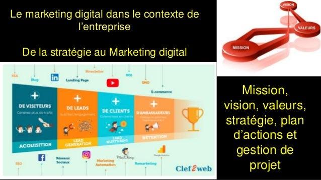 Le marketing digital dans le contexte de l'entreprise De la stratégie au Marketing digital 1 Mission, vision, valeurs, str...