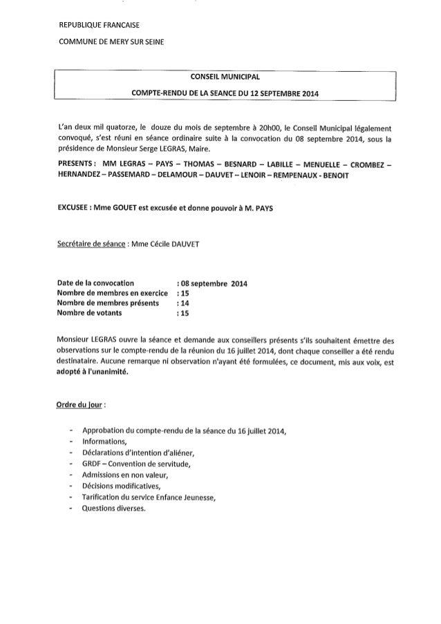 Commune de MERY-SUR-SEINE -- Compte rendu du CM du 12 septembre 2014