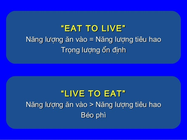 """""""""""EAT TO LIVE""""EAT TO LIVE"""" Năng lượng ăn vào = Năng lượng tiêu haoNăng lượng ăn vào = Năng lượng tiêu hao Trọng lượng ổn đ..."""