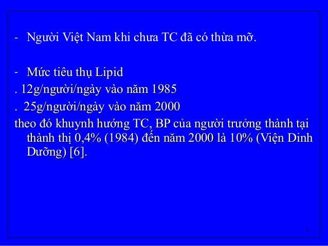 5 - Người Việt Nam khi chưa TC đã có thừa mỡ. - Mức tiêu thụ LipidMức tiêu thụ Lipid . 12g/người/ngày vào năm 1985. 12g/ng...