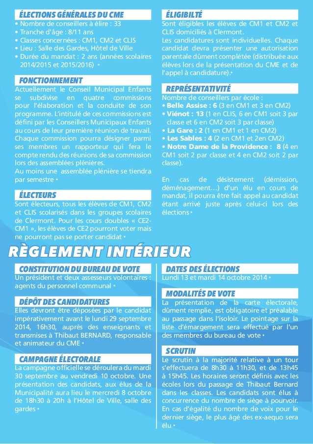 Conseil municipal enfants clermont guide electoral 2014 for Depot reglement interieur