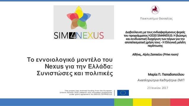 Το εννοιολογικό μοντέλο του Nexus για την Ελλάδα: Συνιστώσες και πολιτικές Διαβούλευση με τους ενδιαφερόμενους φορείς του ...