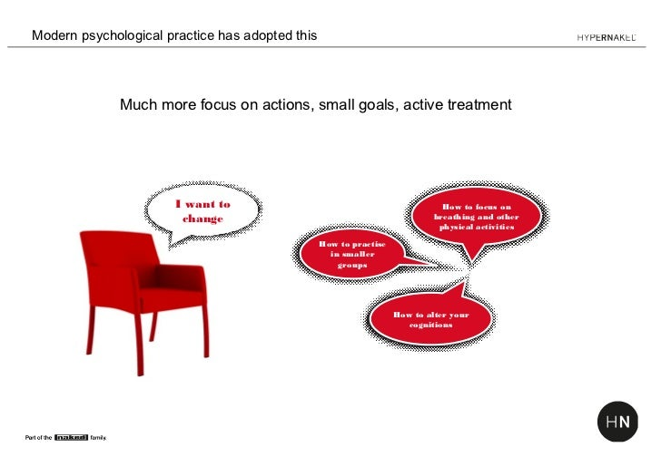 Modern psychological practice has adopted this              Much more focus on actions, small goals, active treatment     ...