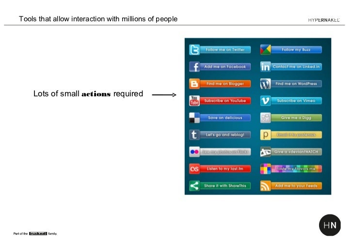 Tools that allow interaction with millions of people    Lots of small actions required