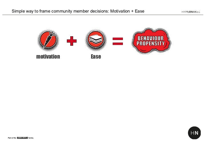 Simple way to frame community member decisions: Motivation + Ease            motivation                Ease