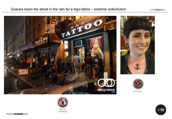 Queues down the street in the rain for a logo tattoo – extreme collectivism                                               ...