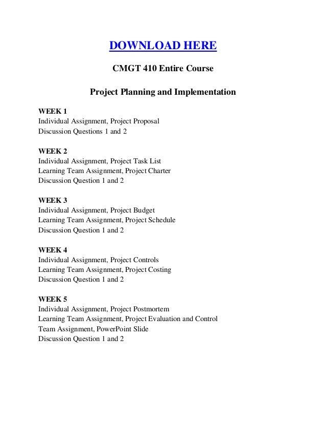 CMGT410 Entire Course